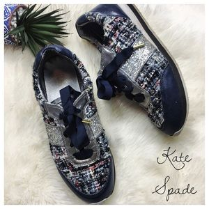 Kate Spade Sidney tweed glitter trainers size 8.5